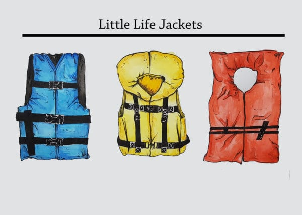 Postcard image with 3 lifejackets with the title 'little life jackets'